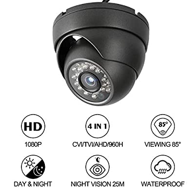 Dericam 1080P@30fps 1920TVL Full HD Bullet Outdoor Security Camera, HDCVI/HDTVI/AHD 3-in-1 Surveillance Camera, IP66 Metal Housing, 24 LEDs/82ft Night Vision, 85°Viewing Angle by Dericam