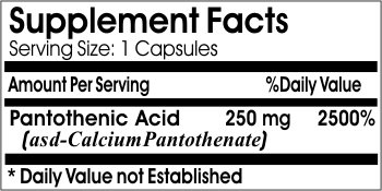 Pantothenic Acid 250mg ~ 100 Capsules - No Additives ~ Naturetition Supplements