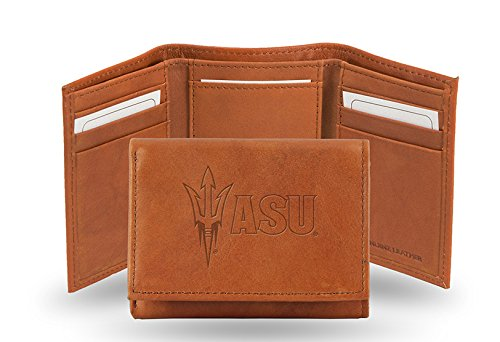 Rico Industries NCAA Arizona State Sun Devils Embossed Leather Trifold Wallet, Tan
