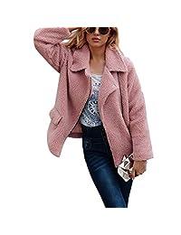Belgius Women Fuzzy Fleece Jacket Sherpa Winter Warm Zipper Front Outwear Coat