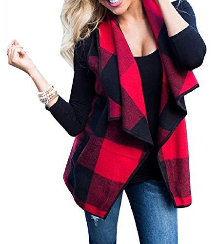 はっきりしない連帯嫌がらせVITryst 女性ラペルノースリーブ格子縞は、オープンフロントコントラストベストコートポケット