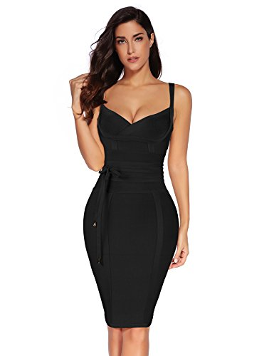 Meilun Womens Rayon Belt Detail Bandage Bodycon Party Dress (S, Black)
