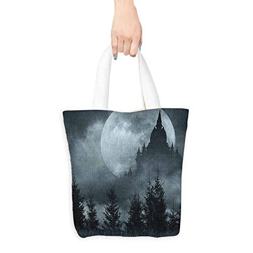 Canvas travel storage bag Halloween Magic Castle Silhouette over Full Moon Night Fantasy Landscape Scary Forest Decorative crafts 16.5