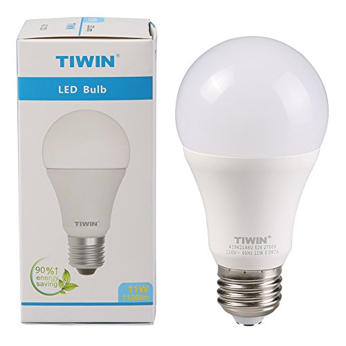 TIWIN LED Light Bulbs 100 watt Equivalent (11W),Soft White (2700K), General Purpose A19 LED Bulbs,E26 Base,UL Listed, Pack of 6 by TIWIN (Image #6)