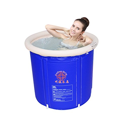 PVC Blue Foldable Inflator Bath Comfortable Adult Thicker Bath Bathtub Household Child Inflatable Pool ( Size : S )