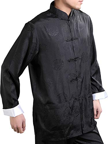 Shirt Dragon Silk (Bitablue Men's Enter the Dragon Chinese Clothing Shirt with Free Matching Pants (Large, Black))