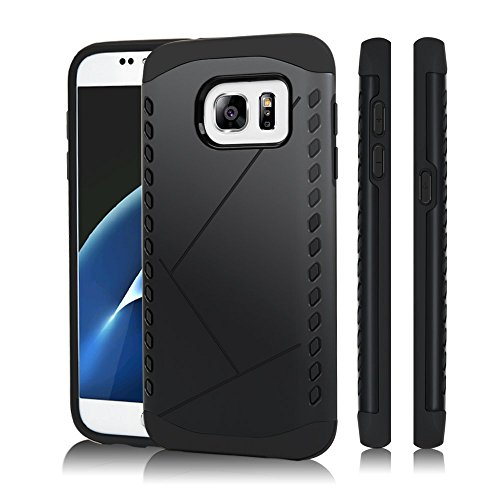 TURATA S7 Case 2 in 1 Design Heavy Duty Hard Plastic TPU & PC Protective Case Bumper for Samsung Galaxy S7 Black