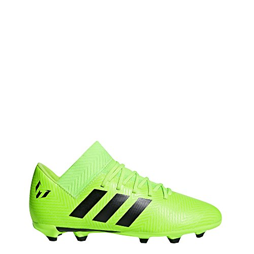 adidas Unisex Nemeziz Messi 18.3 Firm Ground Soccer Shoe, Black/Solar Green, 5 M US Big Kid