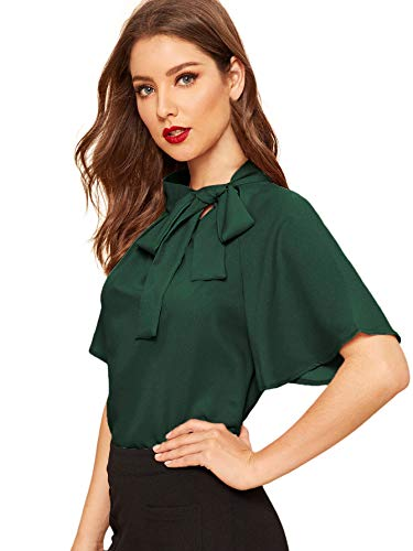 SheIn Women's Casual Side Bow Tie Neck Short Sleeve Blouse Shirt Top Medium Green