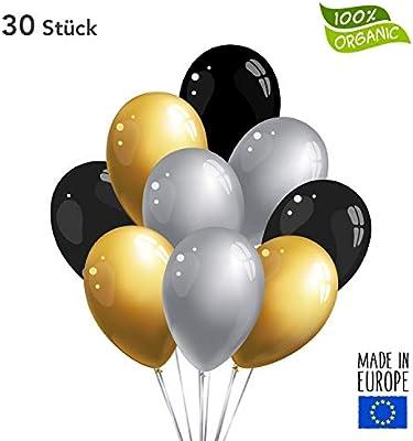 50 x Premium Globos Negro/Oro/Plata, fabricado en Alemania, sin ...
