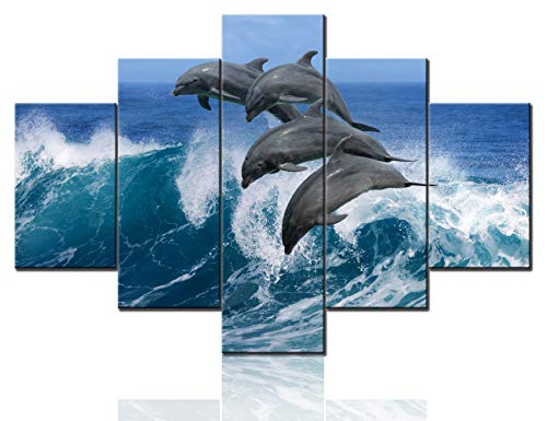 Multi Panel Canvas Wall Art Sealife Dolphins Paintings Hawaii Pacific Ocean Wildlife Scenery Pictures for Living Room HD Prints Artwork House Decor Giclee Framed Stretched Ready to Hang(60''Wx40''H)