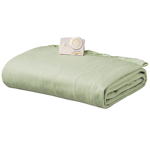 Biddeford 1000-903929-633 Comfort Knit Electric Heated Blanket, Twin, Sage