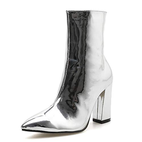 IOJHOIJOIJOIJMO Gold Silver Patent Leather Women Ankle Boots Pointed Toe High Heel Boots Stiletto Women Pumps Chelsea Boots,Silver,4 ()