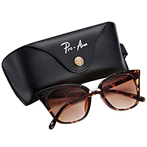 Pro Acme Premium Retro Cat Eye Sunglasses for Women UV400 Protection (Brown Gradient Lens/Leopard Frame)