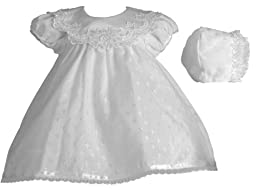 Lauren Madison Baby-Girls Newborn Christening Baptism Special Occasion Cotton Cross Embroidered Dress Gown Outfit with Bridal Satin Collar, White, 0-3 Months