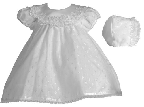 Lauren Madison Baby-Girls Newborn Christening Baptism Special Occasion Cotton Cross Embroidered Dress Gown Outfit with Bridal Satin Collar, White, 0-3 ()