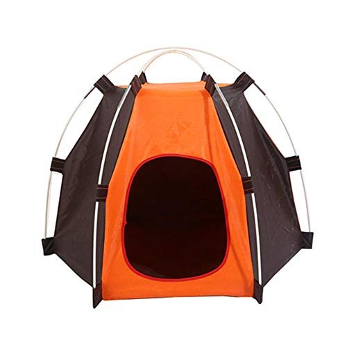 Cat House Portable Pet Dog Puppy Tent House Oxford Waterproof Foldable Portable for Outdoor Summer Orange