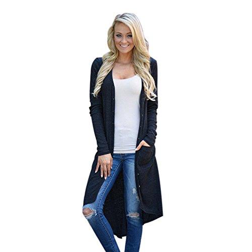 Han Shi Long Cardigan, Women Knitted Button Pocket Loose Sweater Outwear Jacket Coat Shirt (L, Black)