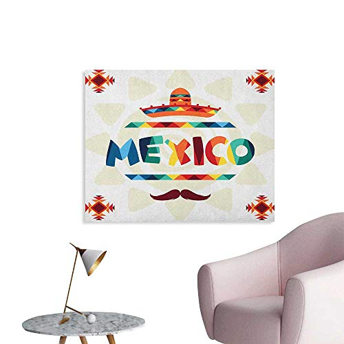 Anzhutwelve Mexican Wall Sticker Decals Mexico Traditional Aztec Motifs and Sombrero Straw Hat and Moustache Graphic Print Wall Poster Multicolor W28 -