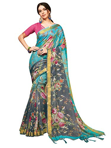 Sarees for Women Linen Silk Digital Print with Silk Boarder Saree l Indian Ethnic Wedding Gift Sari with Unstitched Blouse Teal
