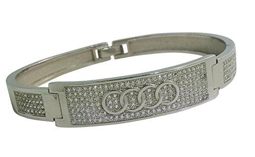 925 Solid Sterling Silver Bangle Bracelet Beautiful Intricately Made Cz Bracelet AUDI AND JAGUAR DESIGN FR21 (AUDI) by JANIZZ (Image #3)