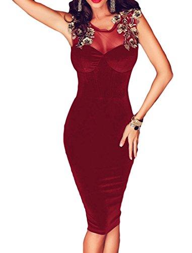 Delle Velluto Lace Di Abito vestibilità Clubwear Donne Vino Aderente up Midi Acvip Slim 0wxnPP