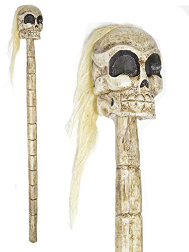HAND CARVED WOOD SKULL SKELETON WALKING STICK CANE -