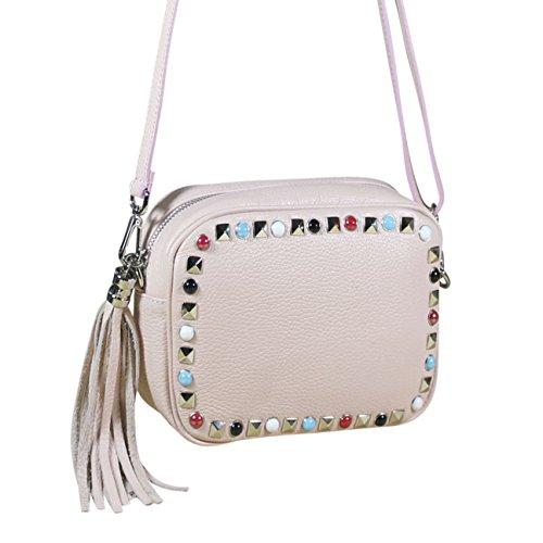 FERETI Leder umhängetasche mit perlen Pulver Rosa mit quaste kleine tasche