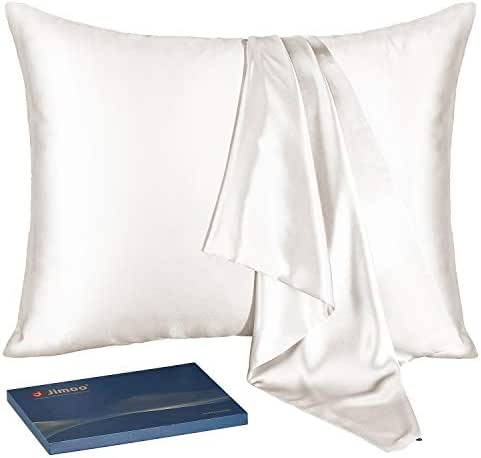 J JIMOO Natural Silk Pillowcase,for Hair and Skin with Hidden Zipper, 22 Momme 600 Thread Count 100% Mulberry Silk (Ivory White, Standard 20''×26'',1 Piece)