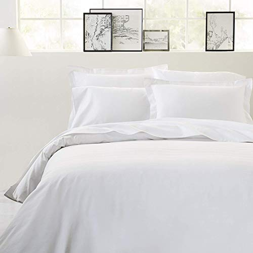 Threads Collection 1500TC Luxurious Hotel Collection Zipper Closer 1-Piece Duvet Cover with Corner Tie Grand King White Solid 100% Egyptian Cotton 1500TC Special for Hotels