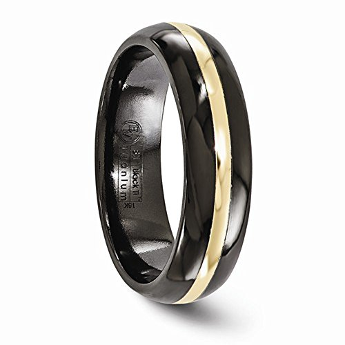 Edward Mirell Black Titanium with 14K Yellow Gold Inlay Domed 6mm Wedding Band - Size 9