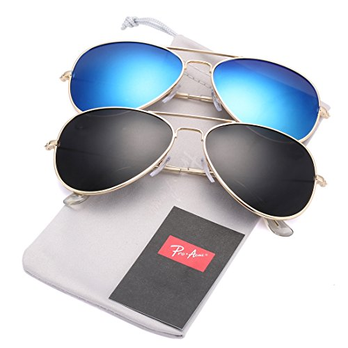 Pro Acme Classic Polarized Aviator Sunglasses for Men and Women UV400 Protection (2 Pairs) Gold Frame/Black Lens + Gold Frame/Blue Mirrored ()