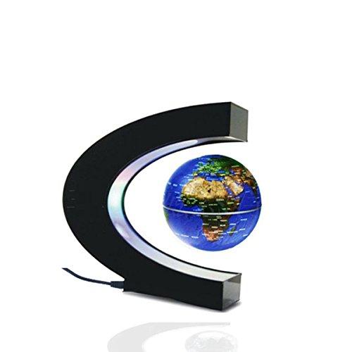 Magnetic Field Levitation - Glovion C Shape Magnetic Field Levitation Globe World Map with LED Decoration Light -Blue