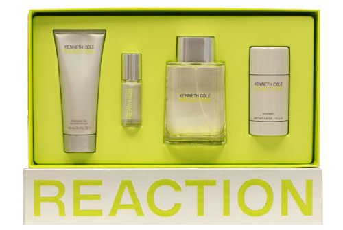 Kenneth Cole Reaction By Kenneth Cole For Men. Gift Set ( Eau De Toilette Spray 3.4 Oz + Aftershave Gel 3.4 Oz + Eau De Toilette Spray 0.5 Oz + Deodorant Stick 2.6 Oz )