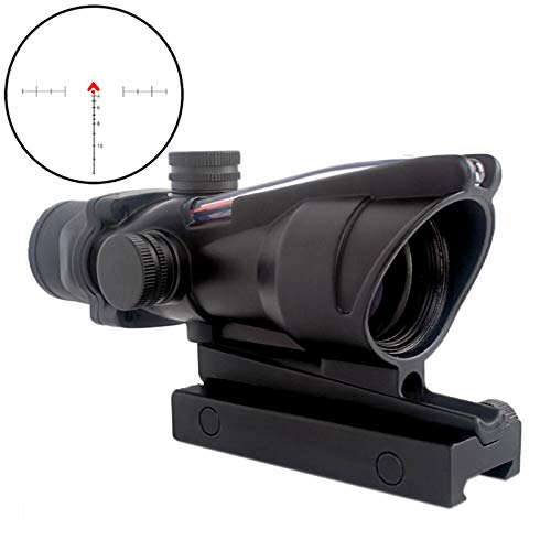 - CRUSHUNT 4x32 Scope Hunting RifleScopes Red Chevron Glass Etched Reticle Real Fiber Optics Tactical Optical Sights Scope