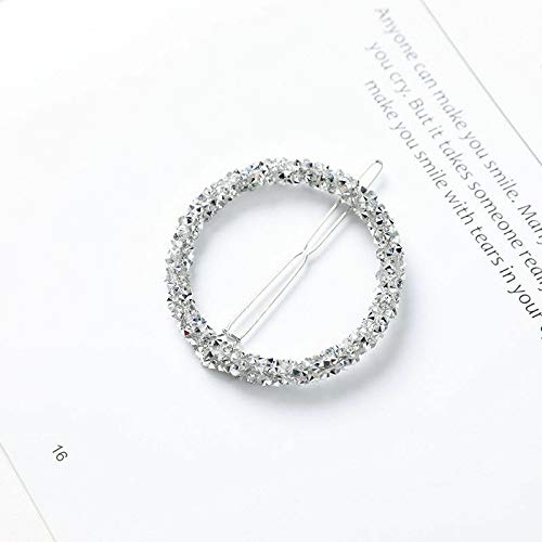 Crystal Rhinestone Hairpin Star Triangle Round Hair Clip Barrette Accessories (Color - Silver Gray Round)