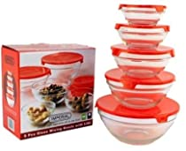 5pcs. Glass Mixing Bowl Set - Red Case Pack 12
