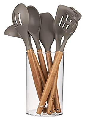 Kitchen Utensil Set - Gourmet Non-Stick Silicone Cooking Tools with Bamboo Handles - Ladle, Spatulas, Spoons, Pasta Server - Tan / Grey - 7-Piece Set Including Holder by Juvale