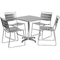 Flash Furniture 27.5 Square Aluminum Indoor-Outdoor Table Set with 4 Silver Metal Stack Chairs