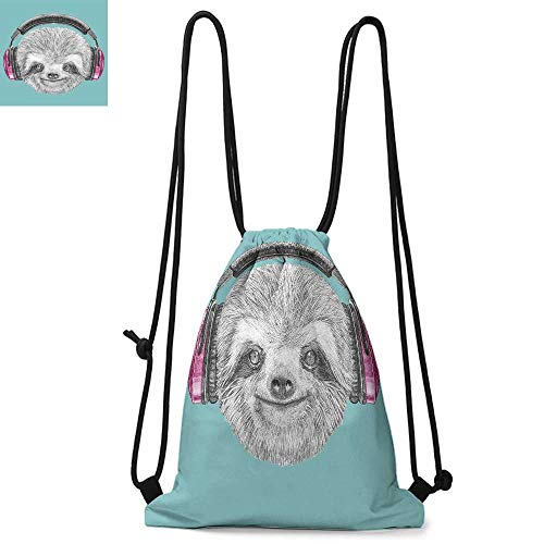 Sloth Portable drawstring backpack DJ Sloth Portrait with Headphones Funny Modern Character Cool Cute Smiling For the gym W17.3 x L13.4 Inch Teal Grey Fuchsia