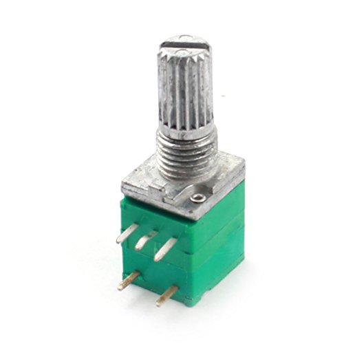 Uxcell a14080500ux0031 B50K Knurled Shaft Linear Rotary Taper Potentiometer Switch, 50K Ohm, 6 (Knurled Pins)