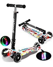 Kids Kick Scooter, Adjustable Scooter for Toddlers 3-12 Years Old Boy and Girls,Support 50 kg,Lightweight Folding Kids Scooter,LED Light-Up Wheels