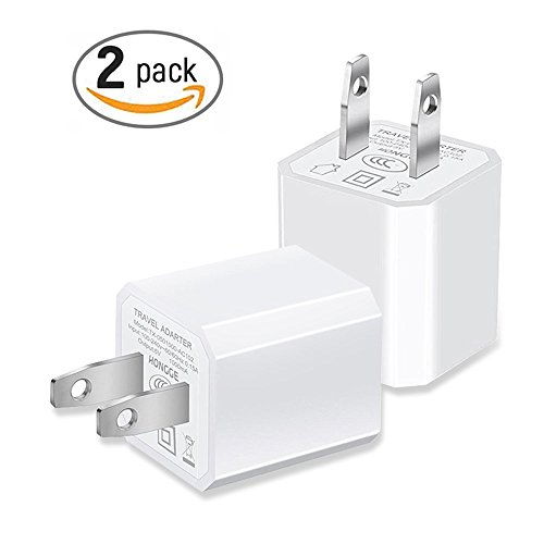 USB Wall Charger, Charger AC Adapter, 2-Pack Block Travel Plug Cube for Home and Cell Phone - iPhone X/8/8 Plus/7/6S/6S Plus/6 Plus/6/5S/5, Samsung Galaxy S7/S6/S5 Edge, LG, HTC, Huawei, Moto, Kindle