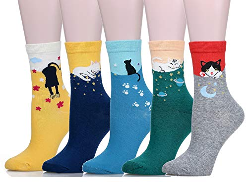 Leotruny Women's Colorful Cute Cat Crew Socks with Gift Box (Without - Crazy Cat