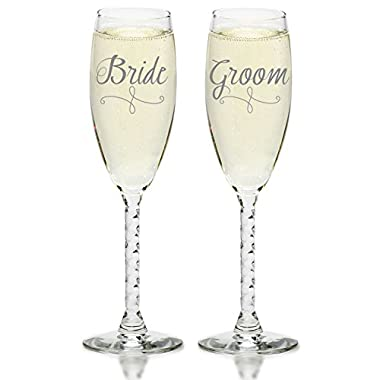 Smart Tart Bride & Groom Silver Wedding Champagne Glasses, Elegant Toasting Flutes
