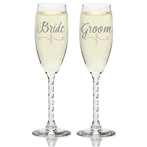 Bride & Groom Silver Champagne Flutes - Elegant Wedding Toast Glass Set for Couples - Mr & Mrs Glasses for Engagement, Wedding, Anniversary, House Warming, Hostess Gift ()