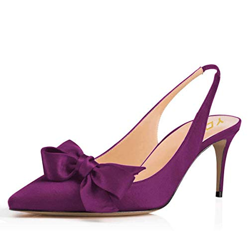 Satin Bow High Heel Sandal - YDN Women Pointed Toe Slingback Satin Dress Pumps Stiletto Mid Heels Evening Prom Sandals with Bows Purple 9.5