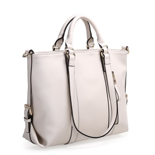 Fineplus Women's Cute Roomy Leather Multifunctional Shoulder Tote Bag Creamy White