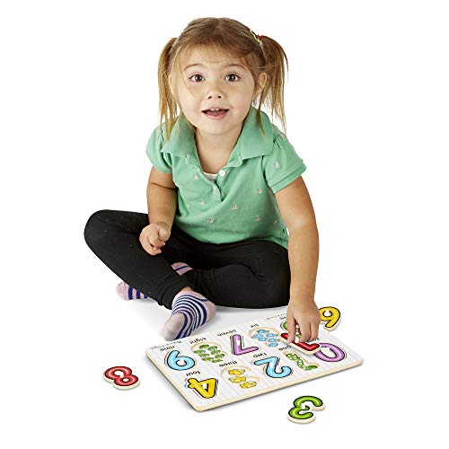 Melissa & Doug Classic Wooden Peg Puzzles, See-Inside Alphabet & Numbers, and Fish Mix & Match Colors, 3-Pack