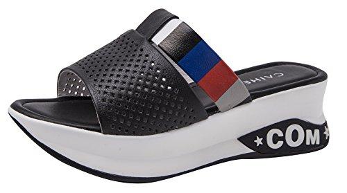 CAIHEE Women's Summer Casual Mesh&Leather Upper Fashion High Platform Wedge Sandals (7 B(M) US,Black) (7 B(M) US, (Mystique Studded Sandals)
